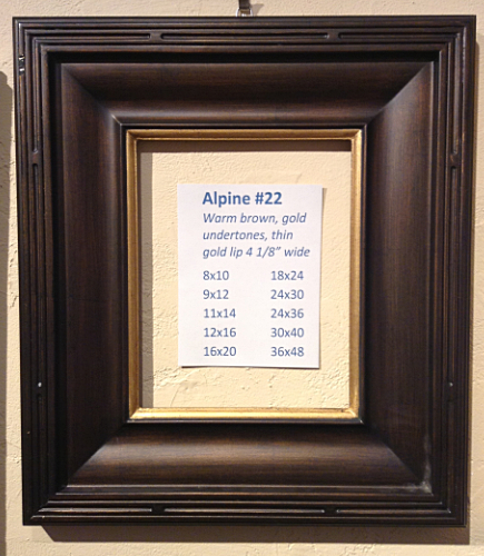 the following frames alpine 21 and alpine 10 are the same profile as the 109 and 22 wider profiles warm black finish
